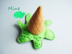 Oops! Ice cream - Felt ice cream cone brooch, Green Mint by MFFabulousCreations