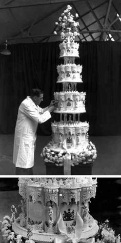 Queen Elizabeth II and Prince Philip, celebrated their November 20, 1947 wedding with a 9 foot tall, four-tier cake that weighed in at a whopping 500 lbs. The cake was covered in ornate, cathedral-like carvings - complete with tiny figures, lavish columns, and royal insignias. Crafted by McVitie and Price Ltd., the same biscuit company whipping up dessert for William and Kate's big day, the showstopper even depicted scenes from the couple's lives.