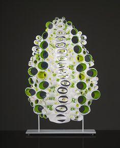 "Marsha Blaker ""Midline Rendez-vous""   blown, cut, fused, hot manipulated glass  http://www.morganglassgallery.com/imagepages/blaker_midline.htm"