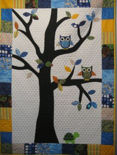Baby Quilt Owl quilt Applique Quilt by 3MaterialObsessions on Etsy