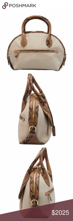 Salvatore Ferragamo Fiamma Snakeskin bag (123885) •Designer: Salvatore Ferragamo •Overall Condition: New with tags •Type: Satchel •Material: FabricxSnakeskin •Origin: Italy •Interior Color: Brown •Hardware: Gold-Tone •Meas (L x W x H): 12x5x8 •Strap Drop: 16 •Handle Drop: 4 •Exterior Pockets: 1 •Interior Pockets: 2 •Weight: 2 lbs •Production Code: GF-21F 158 •Overall Condition Description: This Salvatore Ferragamo Fiamma  It is new with tags. Salvatore Ferragamo Bags Satchels