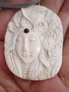 Owl Goddess Pendant Animal Totem 2 Owls hand carved in Antler with Black Onyx gemstone. From Jean Redman's Etsy shop 'MysticMoonBear'