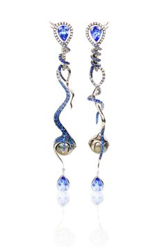 Leyla Abdollahi London Peitho (Long) 18K White Gold, White Diamonds, Tanzanite, Blue Sapphires, Tahitian Pearls