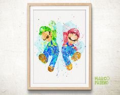 Super Mario Brothers Watercolor Art Poster Print - Wall Art - Nursery Decor - GIft - Kids Decor - Watercolor Painting - Home Deco - 184