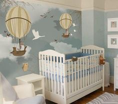 via Beautiful nursery mural! Baby Bedroom, Baby Boy Rooms, Baby Boy Nurseries, Nursery Room, Kids Room Murals, Boys Room Decor, Wall Murals, Wallpaper Murals, Mint Wallpaper
