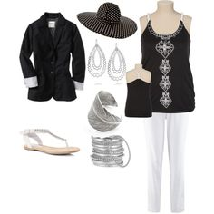 """Plus Size Summery Black Silver and White"" by intcon on Polyvore"