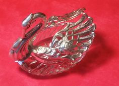 Vintage Repousse Sterling Silver & Crystal Swan Master Salt or Condiment Dish with Articulating Wings (#2220) by CherishedAgain on Etsy