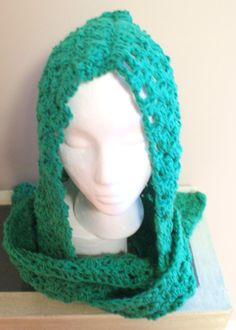 Green Hooded Scarf Crochet Scoodie Hood Scarf Combo by lanacooper,