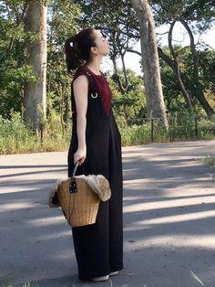 あるもので着回し(^ ^) ボルドー×黒もいい♡ 秋らしくて。 トップス/FREE サロペット/FR