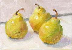 """Daily Paintworks - """"Three July Pears,still life,oil on canvas,5x7,price$175"""" - Original Fine Art for Sale - © Joy Olney"""