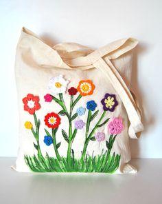 Eco Shopping Tote bag handpainted tote by Lemiecreazionidarte