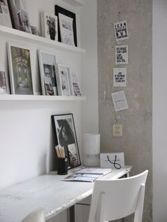 i want to paint the office white and white shelves with different black frames for my photographs!! hurry up spring/summer!