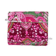 Queen Kantha Quilt Indian Bedding Handmade Bedspread Cotton Throw Bedcover X022 #Handmade #Kantha