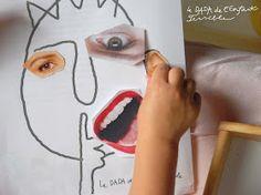 Gezicht tekenen en afwerken met ogen, mond,... uit tijdschriften geknipt.  (Le DADA de l'Enfant Terrible: Art face)