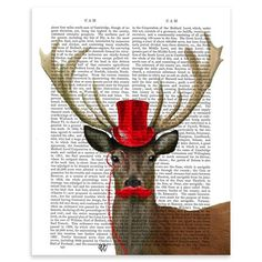 FabFunky - Deer with Red Top Hat and Moustache, Unframed Dictionary Print, 20.5x28cm