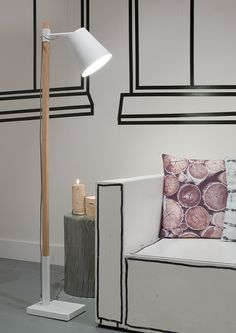 Sydney Floor Lamp - White - Its About RoMi A winning combination of warm ash wood and cold monochrom White Floor Lamp, Led Floor Lamp, Dcor Design, Interior Design, Interior Paint, It's About Romi, Torchiere Floor Lamp, Wood Lamps, Flooring