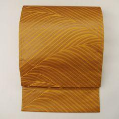 Fukuro obi / 黄土色地抽象的な波柄六通