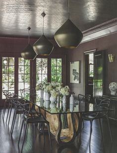 Three Tom Dixon Stout Pendants by House of Honey, featured in California Home and Design Magazine