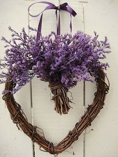 Purple Valentine heart wreath by HDSIM Valentines Day Weddings, Valentine Day Wreaths, Valentine Heart, Valentine Gifts, Valentine Flowers, Homemade Valentines, Valentine Ideas, Lavender Crafts, Lavender Wreath