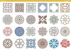 찬진교육 Chinese Patterns, Japanese Patterns, Etnic Pattern, Geometry Art, Korean Traditional, Flower Doodles, Textile Patterns, Chinese Style, Floral Motif