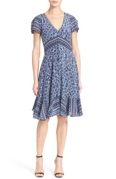 Rebecca Taylor Short Sleeve Print Silk Dress available at #Nordstrom