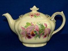 Royal Doulton Orchid Flowers Teapot D 5215 Vintage 1930s England China Tea Pot