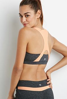 FOREVER 21 medium impact - heathered colorblock sports bra