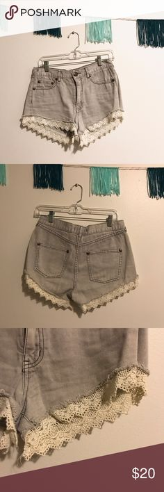 FP Jean Lace Shorts Gray jean shorts with cream lace trim. Great condition Free People Shorts Jean Shorts