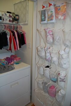 Shoe organizer in the laundry room. Great idea. Pinning this for a chance to win a Cuisinart Food processor... contest details here: http://www.mapleleafmommy.com/2012/04/pin-it-to-win-it-cuisinart-prep-plus.html