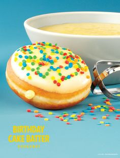 Celebrate any occasion with the Birthday Cake Batter Doughnut! (Available for a limited time in the US and Canada.)