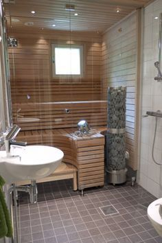 If you want the health and wellness benefits of steam without going to the spa, then you can either buy a home unit pre fabricated or create your own sauna design. It does not take a builder, planner or even an architect to draw up sauna plans. Add A Bathroom, Bathroom Plans, Modern Bathroom, Bathroom Ideas, Sauna Steam Room, Sauna Room, Basement Sauna, Basement Bathroom, Modern Saunas
