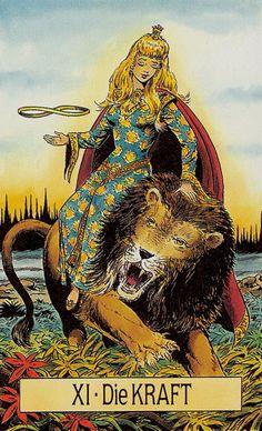 Strength - Arcus Arcanum Tarot by Hansrudi Wascher Strength Tarot, Le Tarot, Tarot Major Arcana, Tarot Card Decks, Mystique, Oracle Cards, Tarot Reading, Archetypes, Occult