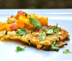 A tasty and quick way to fry up some fish for dinner, this coconut crusted fish is delicious paired with the fresh mango salsa.
