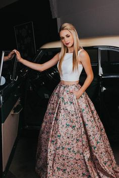 Two Pieces A-line Scoop Floral Printed Modest Long Prom Dress With Pockets Prom Dress Two Piece, Prom Dress A-Line, Long Prom Dress, Prom Dresses, Modest Prom Dress Prom Dresses 2020 Floral Prom Dresses, Prom Dresses Two Piece, Prom Dresses 2018, Beautiful Prom Dresses, Grad Dresses, Ball Gown Dresses, Two Piece Dress, Modest Dresses, Pretty Dresses