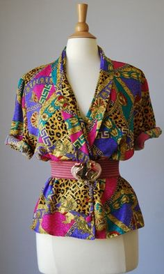 1980s Vintage Jacket Style Blouse ~ Very colorful and pretty