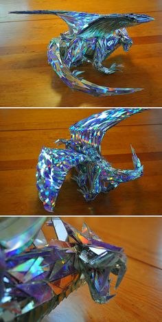 Incredible dragon made from compact discs.