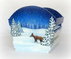 Holiday Home Decor-Christmas Decoration-Gift Basket- Handmade Decoration-Hand Painted Wood-Deer-Snowman-Woodland. via Etsy.