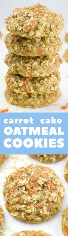 These skinny Carrot Cake Oatmeal Cookies are e Need clean eating breakfast idea? These skinny Carrot Cake Oatmeal Cookies are e. Need clean eating breakfast idea? These skinny Carrot Cake Oatmeal Cookies are e. Healthy Sweets, Healthy Dessert Recipes, Healthy Baking, Healthy Snacks, Breakfast Recipes, Breakfast Ideas, Cake Recipes, Easy Desserts, Juice Recipes