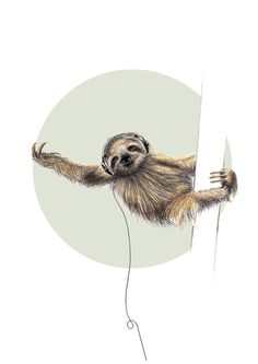 Poster mit Faultier, Illustration als Wanddeko / art print as home decor: sloth with headphones made by Janine Sommer via DaWanda.com
