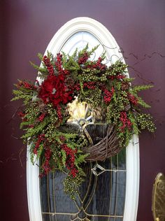 "Grapevine Door Wreath Decor..""Timeless"". $85.00, via Etsy."