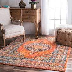 nuLOOM Persian Traditional Medallion Orange Rug x (Orange), Size x (Synthetic Fiber, Oriental) Diy Old Books, Big Rugs, Area Rugs For Sale, Entry Rug, Orange Rugs, Orange Area Rug, Oriental Design, Oriental Pattern, Rugs Usa