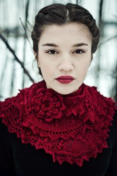 lace knitted scarf cherry red wedding stole bridal door Wollarium