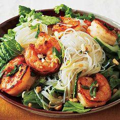 Vietnamese Salt and Pepper Shrimp Rice Noodle Bowl (Bun Tom Xao) - Best Shrimp Recipes - Cooking Light Shrimp Noodle Bowl Recipe, Shrimp Rice Noodles, Shrimp And Rice, Asian Noodles, Noodle Bowls, Shrimp Recipes, Cold Noodles, Noodle Salad, Zucchini Noodles