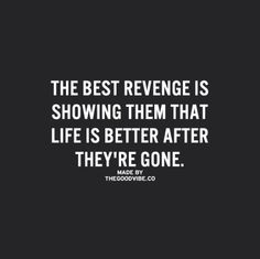 The best revenge is showing them that life is better after they're gone. And it will be.
