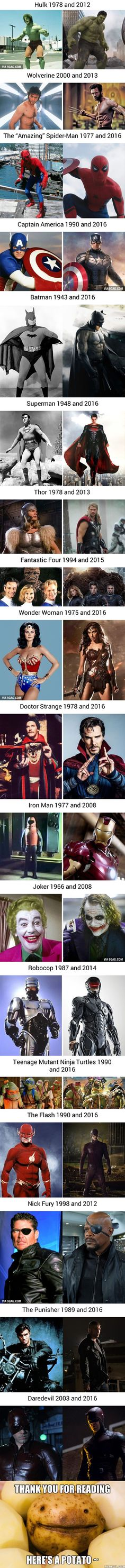 On Screen Superheros Then And Now - 9GAG
