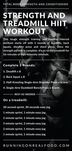 This tough running, strength and conditioning workout starts off with 5 rounds of deadlifts, back squats, kneeling single-arm kettlebell press and single-arm chest press. Once you're done that, you'll hop on the treadmill for 16 Hiit Workouts Running, Emom Workout, At Home Workouts, Fat Workout, Workout Routines, Strength And Conditioning Workouts, Strength Workout, Strength Training, Back Squats