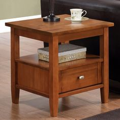 @Overstock - Norfolk Honey Brown End Table - Control clutter and enhance your living space with the Norfolk End Table. This beautiful end table features one storage drawer with a middle shelf for additional storage or displaying your favourite mementos.     http://www.overstock.com/Home-Garden/Norfolk-Honey-Brown-End-Table/6754053/product.html?CID=214117  $89.49