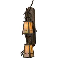 9 Inch W Pine Branch Valley View 2 Lt Wall Sconce. 9 Inch W Pine Branch Valley View 2 Lt Wall SconceEnjoy the natural beauty of the American woodlands with this stunning two-light wall luminaire. Designed with steel Pine tree branches with Pine needles, The hardware is featured in an Antique Copper finish. Twostunning Arts & Crafts styled lanterns feature BeigeIridescent art glass with an abstract view of thevalley design. Handcrafted by Meyda artisans at the foothills of the Adirondack...
