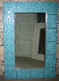 Synergy blue color. The frame is made from new ceiling tin pressed from original molds. See additional sizes above. Choose a frame size to see the price below.
