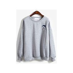 Round Neck Dolphin Embroidered Sweatshirt ($15) ❤ liked on Polyvore featuring tops, hoodies, sweatshirts, grey, embroidered sweatshirts, pullover sweatshirts, long sleeve pullover, grey pullover sweatshirt and grey sweatshirt